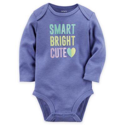 "carter's® Size 9M ""Smart Bright Cute"" Long Sleeve Bodysuit in Purple/Multicolor"