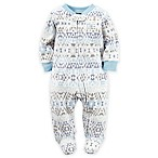 carter's® Size 3M Zip-Front Aztec Print Fleece Footie in Blue/Grey