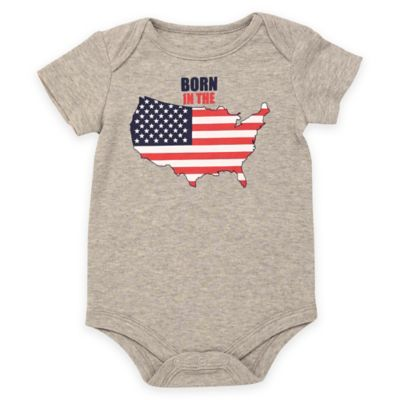 """Baby Starters® Babies with Attitude Size 12M """"Born in the USA"""" Short Sleeve Bodysuit in Grey"""