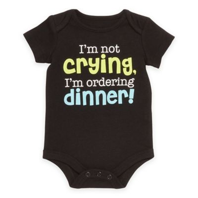 """Baby Starters® Babies with Attitude Size 12M """"Ordering Dinner"""" Short Sleeve Bodysuit in Black"""