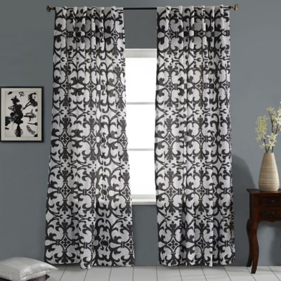 Linen Geo Print Embroidered 108-Inch Rod Pocket/Back Tab Window Curtain Panel in White/Grey