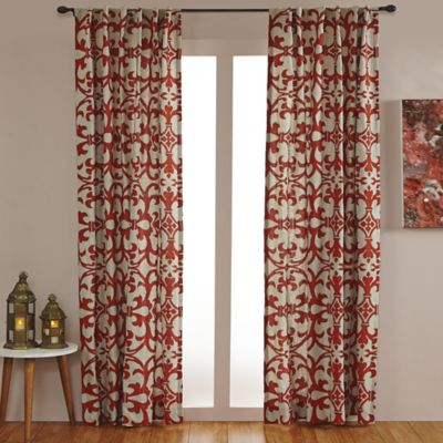 Linen Geo Print Embroidered 96-Inch Rod Pocket/Back Tab Window Curtain Panel in Natural/Orange