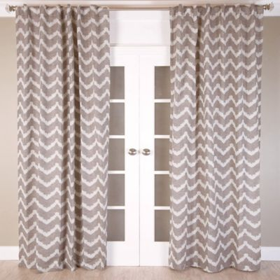 Chevron Jacquard 96-Inch Rod Pocket/Back Tab Window Curtain Panel in Brown/Ivory
