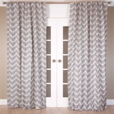 Chevron Jacquard 96-Inch Rod Pocket/Back Tab Window Curtain Panel in Grey/Ivory