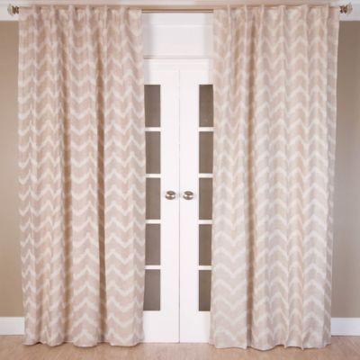 Chevron Jacquard 96-Inch Rod Pocket/Back Tab Window Curtain Panel in Natural/Ivory