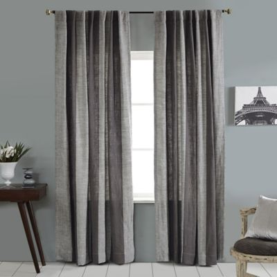 Linen Stripe Vertical Stripe 84-Inch Rod Pocket/Back Tab Window Curtain Panel in Grey/Ivory
