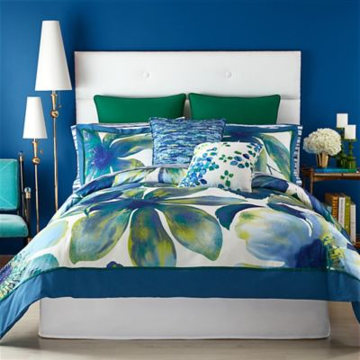 Christian Siriano Watercolor Bloom King Comforter Set in Blue