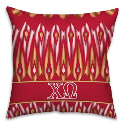 Chi Omega Greek Sorority 16-Inch Throw Pillow in Red