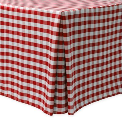 Gingham Poly Check Indoor/Outdoor Fitted 6-Foot Tablecloth in Red/White
