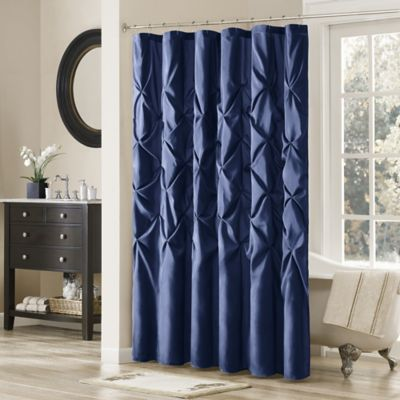 Madison Park Laurel 72-Inch x 72-Inch Shower Curtain in Navy