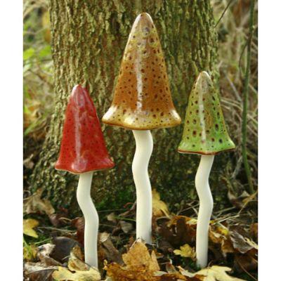 Bosmere Ceramic Toadstools in Rustic Fall Colors (Set of 3)