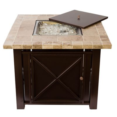 Bombay® Bronze Fire Pit Table with Travertine Countertop