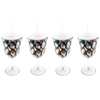 BergHOFF® Acrylic Wine Glasses with Circle Pattern (Set of 4)