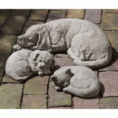 Campania Small Curled Call Cat Garden Statue in Greystone