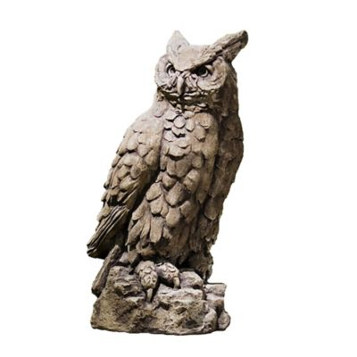 Campania Large Horned Owl Garden Statue in Brownstone