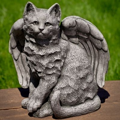 Campania Angel Kitty Garden Statue in Alpine Stone
