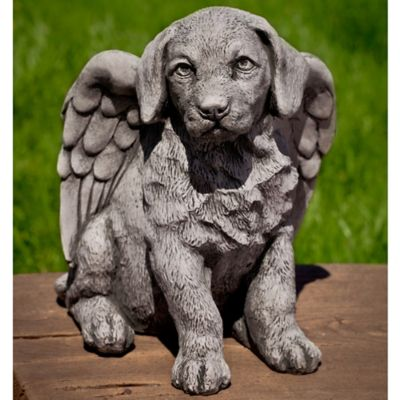 Campania Angel Puppy Garden Statue in Alpine Stone