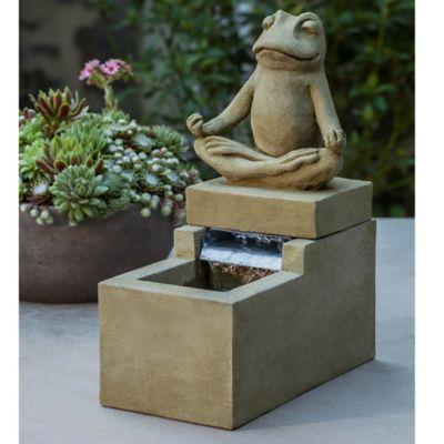 Campania Mini Element Zen Frog Fountain in English Moss Green