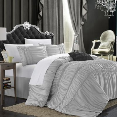 Chic Home Roning 8-Piece Queen Duvet Cover Set in Silver
