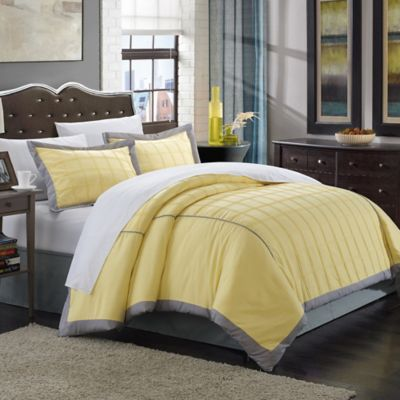 Chic Home Jasmine 7-Piece King Duvet Cover Set in Yellow