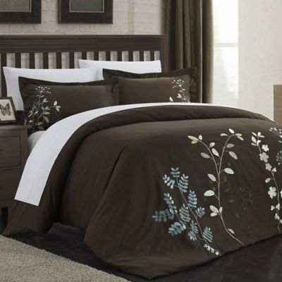 Chic Home Kathy 7-Piece Queen Duvet Cover Set in Brown