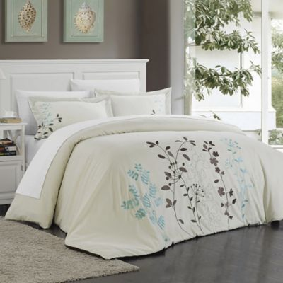 Chic Home Kathy 7-Piece Queen Duvet Cover Set in Beige