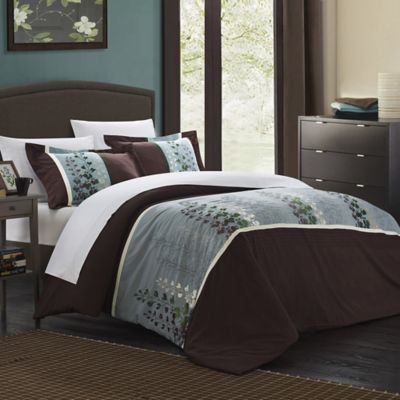Chic Home Vero 7-Piece King Duvet Cover Set in Brown