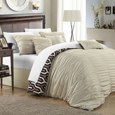 Chic Home Emelia 3-Piece Reversible Queen Duvet Cover Set in Beige