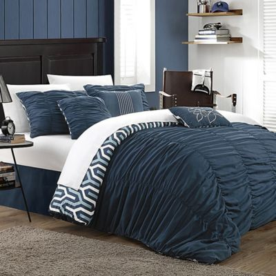 Chic Home Emelia 7-Piece Reversible Queen Duvet Cover Set in Navy