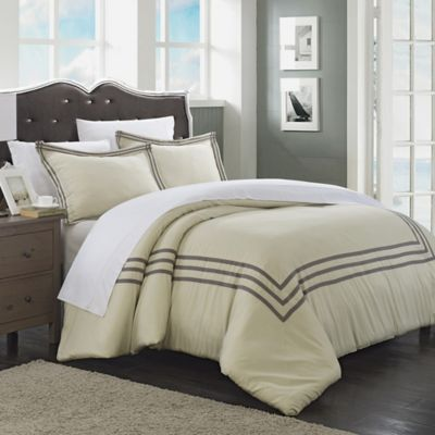 Chic Home Sigrid 3-Piece Queen Duvet Cover Set in Silver