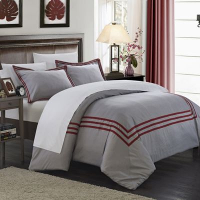 Chic Home Sigrid 3-Piece Queen Duvet Cover Set in Red