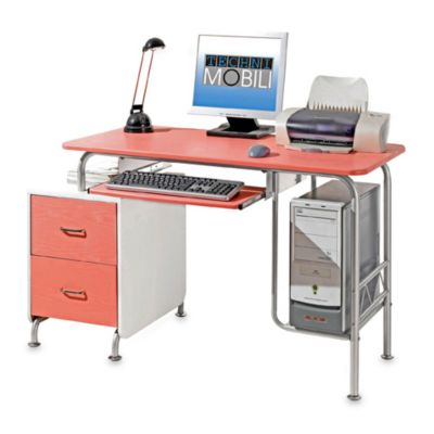 Computer Desk with Two Drawers in Pink