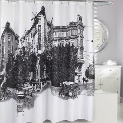 Black Fabric Shower Curtain