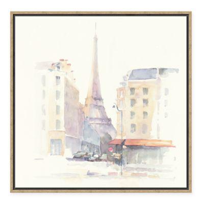 European City Paris Morning Square Framed Canvas Wall Art
