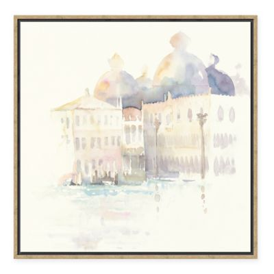 European City Venice Evening Square Framed Canvas Wall Art