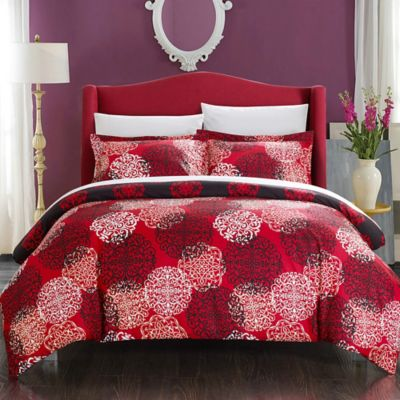Chic Home Jameson 7-Piece Reversible King Duvet Cover Set in Red