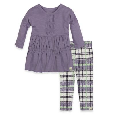 Burt's Bees Baby® Size 24M 2-Piece Organic Cotton Ruched Dress and Plaid Legging Set