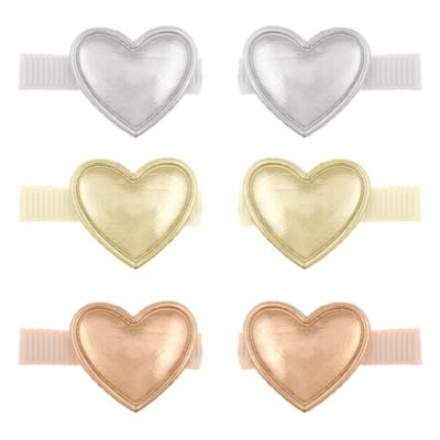 Capelli New York 6-Pack Metallic Heart Hair Clips in Silver/Gold/Bronze