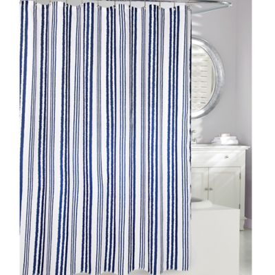 Moda at Home Weekend Stripe Fabric Shower Curtain in Navy