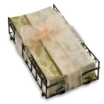 Foliole Cream Guest Towels with Caddy
