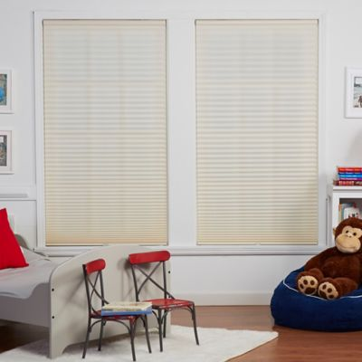 Baby Blinds Cordless Pleat 66-Inch x 72-Inch Shade in Soft Tan