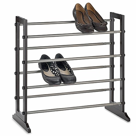 Expanding 24-Pair Mahogany Shoe Rack