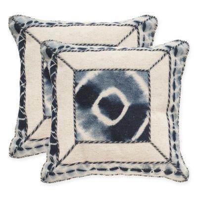 Safavieh Dip-Dye Patch 20-Inch Square Throw Pillows in Medina Blue (Set of 2)