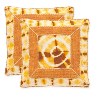 Safavieh Dip-Dye Patch 20-Inch Square Throw Pillows in Tumeric (Set of 2)