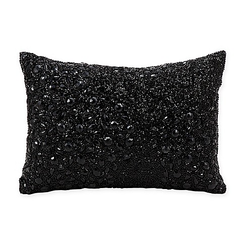 Buy Mina Victory Luminescence Fully Beaded Rectangle Throw Pillow in Black from Bed Bath & Beyond