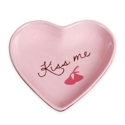 """Hershey's by Fitz and Floyd® Sweet Notes """"Kiss Me"""" Heart Tidbit Dish in Pink"""