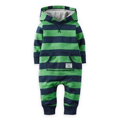 carter's® Newborn Hooded French Terry Romper in Green/Navy