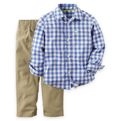 carter's® Size 6M 2-Piece Gingham Shirt and Pant Set in Blue/Khaki