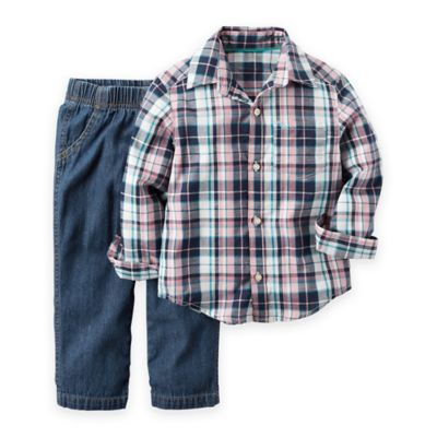 carter's® Size 6M 2-Piece Plaid Shirt and Denim Pant Set in Pink/Blue