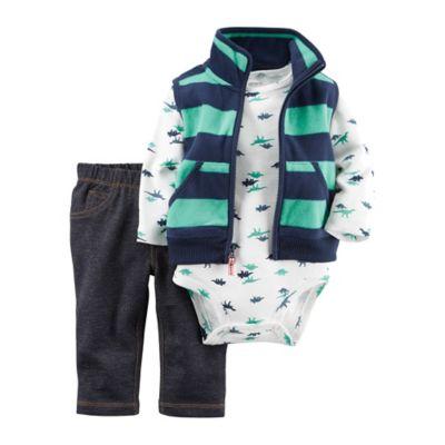 carter's® 3-Piece Fleece Vest, Bodysuit, and Pant Set in Teal/Navy